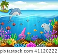 Cartoon fish under the sea  41120222