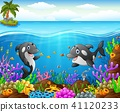 Cartoon whale under the sea  41120233