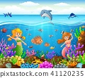 Cartoon mermaid under the sea  41120235