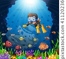 Cartoon diver under the sea  41120236