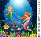 Cartoon mermaid under the sea  41120237