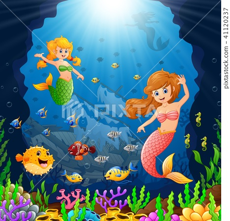 Cartoon mermaid under the sea  41120237