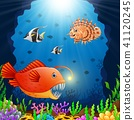 Cartoon fish under the sea  41120245
