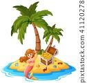 cartoon island mermaid 41120278