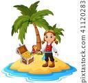 cartoon coconut island 41120283