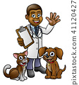 Cartoon Veterinarian Character with Cat and Dog 41120427
