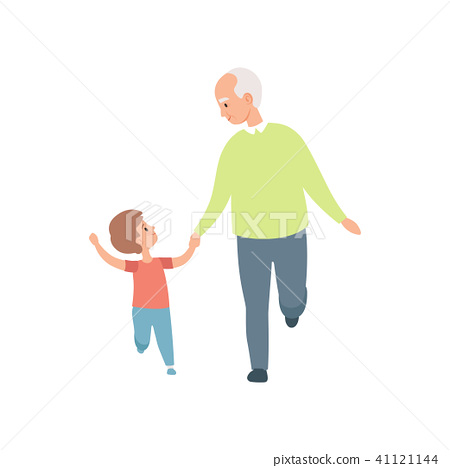 Grandpa walking with his little grandson, grandfather spending time playing with grandson vector 41121144
