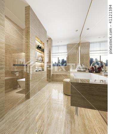 modern bathroom with luxury tile decor  41121394