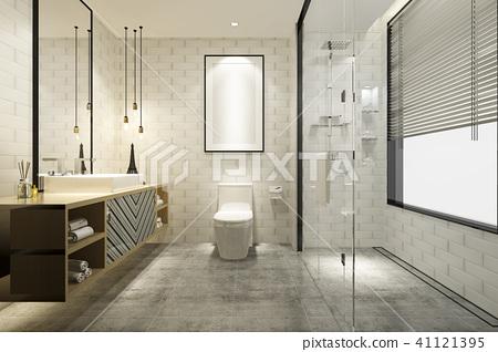 modern bathroom with luxury tile decor  41121395
