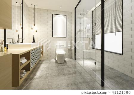 modern bathroom with luxury tile decor  41121396
