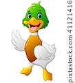Cute baby duck waving hand  41121416