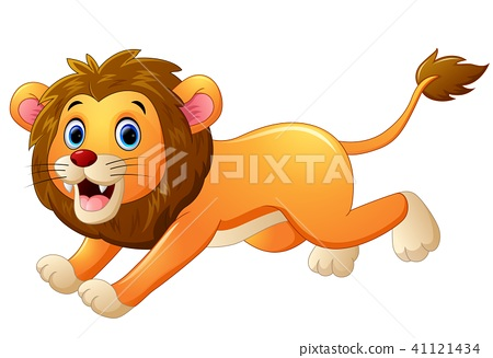Lion cartoon running  41121434