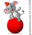 cartoon circus elephant as acrobat  41121440