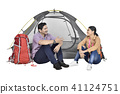 Portrait of asian couple discussion in front of tent 41124751
