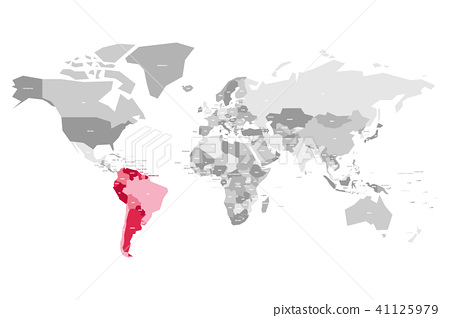 Map of World in grey colors with red highlighted countries of South Detailed Vector World Map With Selectable Countries on