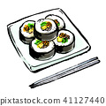 gimbap, vinegary rice rolled in dried laver, food 41127440