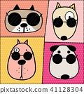 Hand Drawn Cute Dog Face Characters Set.  41128304