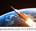Space Launch System Over The Earth 41130059