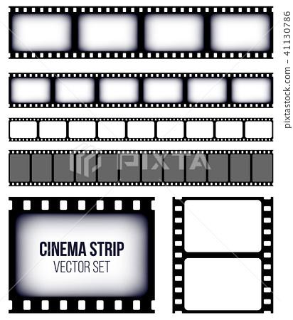 Creative vector illustration of old retro film strip frame set isolated on transparent background 41130786