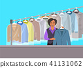 African girl at reception of dry cleaning shop 41131062