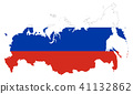 Flag of Russia in country silhouette 41132862
