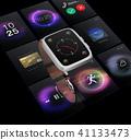 智能手表和UI屏幕的综合图象在黑色后面。多功能终端屏幕的概念图像 41133473