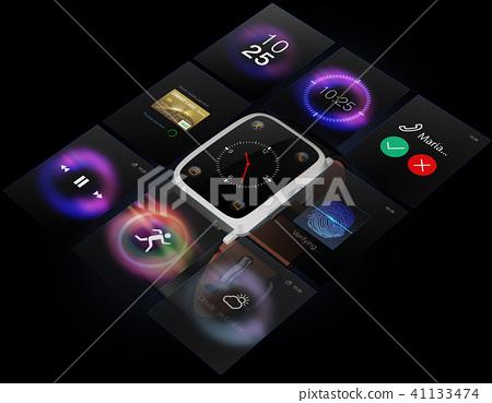 智能手表和UI屏幕的综合图象在黑色后面。多功能终端屏幕的概念图像 41133474