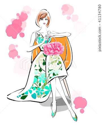휴식 시간 여름 드레스 41134780