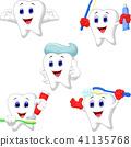 Cartoon teeth collection set 41135768