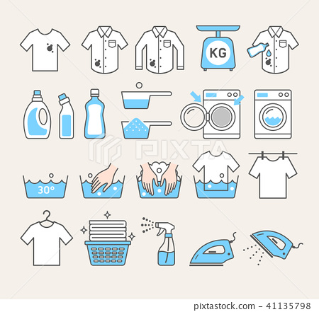 laundry service icons. Vector illustrations. 41135798