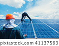 engineer team working on replacement solar panel 41137593