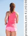 beach, woman, running 41140198
