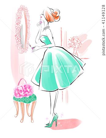 粉房女性绿色连衣裙 41149128