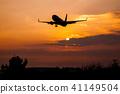 아침 놀과 비행기 41149504