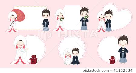 cartoon japanese wedding couple 41152334
