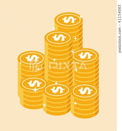 Money icon set. Collection of stacked pile of doll 41154065