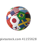 Soccer football with country flags on white 41155628