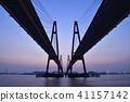 日出 朝霞 桥 41157142
