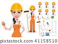builder, cartoon, helmet 41158510