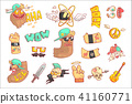 Set Of Stylized Rock Themed Stickers 41160771
