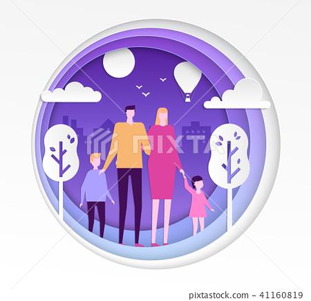 Family - modern vector paper cut illustration 41160819
