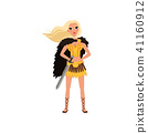 Beautiful blonde amazon girl character, ancient warrior with sword vector Illustration on a white 41160912