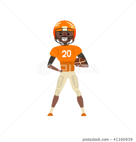 023d7fc98 Smiling American football player wearing uniform standing with ball vector  Illustration on a white