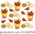 Chicken wings and shawarma Vector pattern 41160958