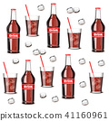Soda drink bottle and glass pattern Vector 41160961