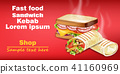 Sandwich and kebab Vector realistic mock up 41160969