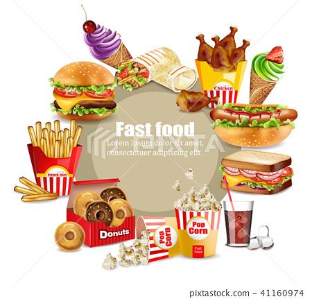 Fast food happy meals set Vector. Realistic 41160974