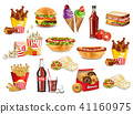 Fast food meals set collection Vector. Realistic 41160975