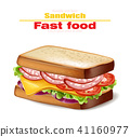 Sandwich Vector realistic. Fast food 3d 41160977