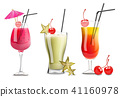 Tropic fruits cocktail glasses set collection 41160978